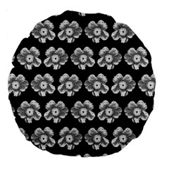White Gray Flower Pattern On Black Large 18  Premium Round Cushions