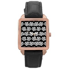 White Gray Flower Pattern On Black Rose Gold Leather Watch