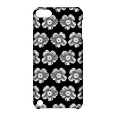 White Gray Flower Pattern On Black Apple iPod Touch 5 Hardshell Case with Stand