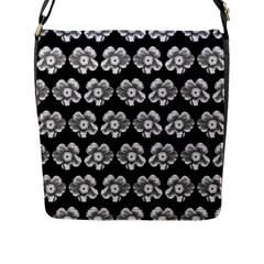 White Gray Flower Pattern On Black Flap Messenger Bag (L)