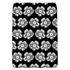 White Gray Flower Pattern On Black Flap Covers (S)