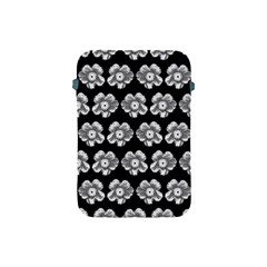 White Gray Flower Pattern On Black Apple iPad Mini Protective Soft Cases