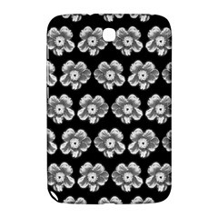 White Gray Flower Pattern On Black Samsung Galaxy Note 8.0 N5100 Hardshell Case
