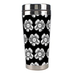 White Gray Flower Pattern On Black Stainless Steel Travel Tumblers