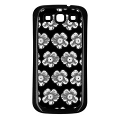 White Gray Flower Pattern On Black Samsung Galaxy S3 Back Case (Black)
