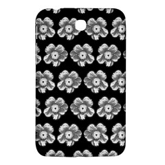 White Gray Flower Pattern On Black Samsung Galaxy Tab 3 (7 ) P3200 Hardshell Case