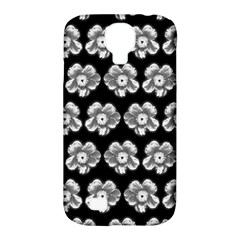 White Gray Flower Pattern On Black Samsung Galaxy S4 Classic Hardshell Case (PC+Silicone)