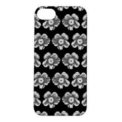 White Gray Flower Pattern On Black Apple iPhone 5S/ SE Hardshell Case