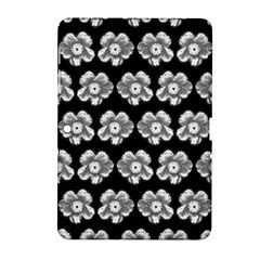White Gray Flower Pattern On Black Samsung Galaxy Tab 2 (10.1 ) P5100 Hardshell Case