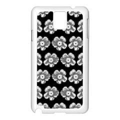 White Gray Flower Pattern On Black Samsung Galaxy Note 3 N9005 Case (White)