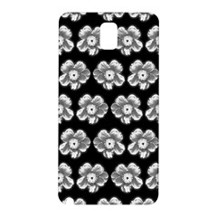 White Gray Flower Pattern On Black Samsung Galaxy Note 3 N9005 Hardshell Back Case