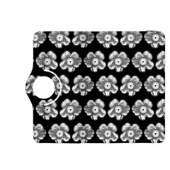 White Gray Flower Pattern On Black Kindle Fire HDX 8.9  Flip 360 Case