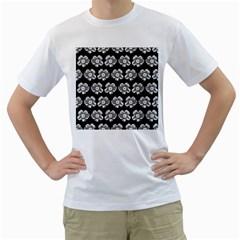 White Gray Flower Pattern On Black Men s T-Shirt (White)