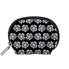 White Gray Flower Pattern On Black Accessory Pouches (Small)