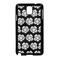 White Gray Flower Pattern On Black Samsung Galaxy Note 3 Neo Hardshell Case (Black)