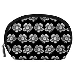 White Gray Flower Pattern On Black Accessory Pouches (Large)