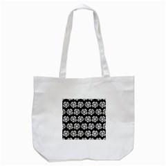 White Gray Flower Pattern On Black Tote Bag (White)