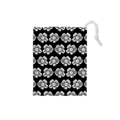 White Gray Flower Pattern On Black Drawstring Pouches (Small)