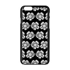 White Gray Flower Pattern On Black Apple iPhone 6/6S Black Enamel Case