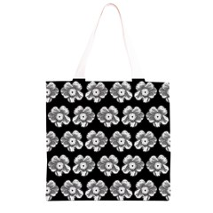 White Gray Flower Pattern On Black Grocery Light Tote Bag