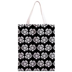 White Gray Flower Pattern On Black Classic Light Tote Bag