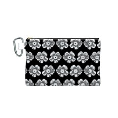 White Gray Flower Pattern On Black Canvas Cosmetic Bag (S)