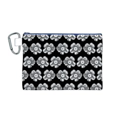 White Gray Flower Pattern On Black Canvas Cosmetic Bag (M)
