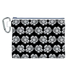 White Gray Flower Pattern On Black Canvas Cosmetic Bag (L)