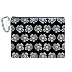 White Gray Flower Pattern On Black Canvas Cosmetic Bag (XL)