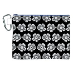 White Gray Flower Pattern On Black Canvas Cosmetic Bag (XXL)