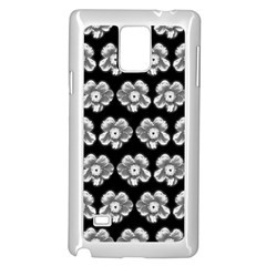 White Gray Flower Pattern On Black Samsung Galaxy Note 4 Case (White)