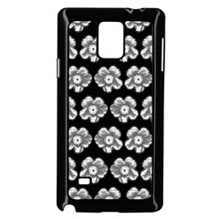 White Gray Flower Pattern On Black Samsung Galaxy Note 4 Case (Black)