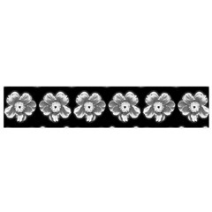 White Gray Flower Pattern On Black Flano Scarf (Small)