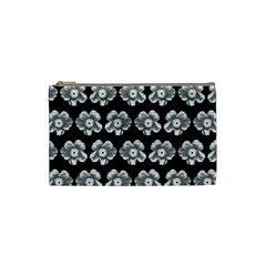 White Gray Flower Pattern On Black Cosmetic Bag (XS)