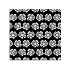 White Gray Flower Pattern On Black Small Satin Scarf (Square)