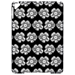White Gray Flower Pattern On Black Apple Ipad Pro 9 7   Hardshell Case
