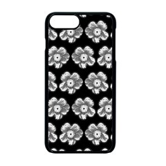 White Gray Flower Pattern On Black Apple iPhone 7 Plus Seamless Case (Black)