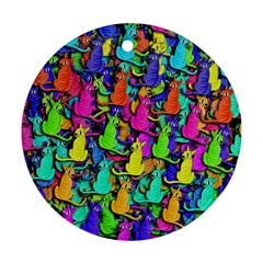 Colorful cats Ornament (Round)