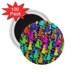 Colorful cats 2.25  Magnets (100 pack)
