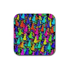 Colorful cats Rubber Coaster (Square)