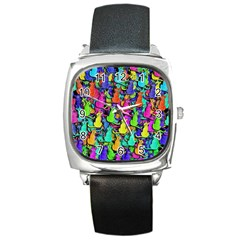 Colorful cats Square Metal Watch