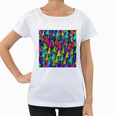 Colorful cats Women s Loose-Fit T-Shirt (White)