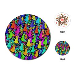 Colorful cats Playing Cards (Round)