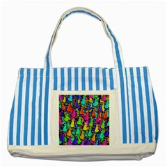 Colorful cats Striped Blue Tote Bag