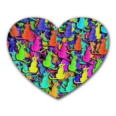 Colorful cats Heart Mousepads