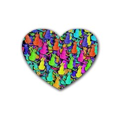 Colorful cats Heart Coaster (4 pack)