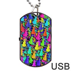 Colorful cats Dog Tag USB Flash (One Side)