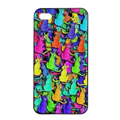 Colorful cats Apple iPhone 4/4s Seamless Case (Black)