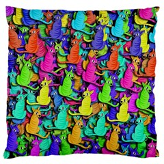 Colorful cats Large Cushion Case (One Side)