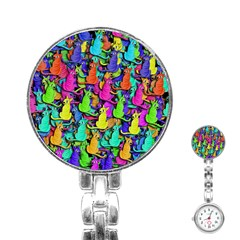 Colorful cats Stainless Steel Nurses Watch